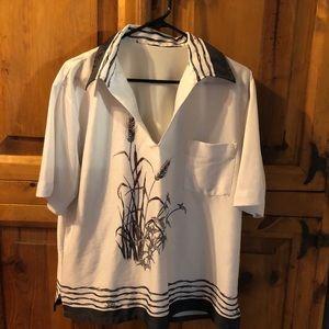 RARE VTG 70's Poly BOHO shirt Like New!